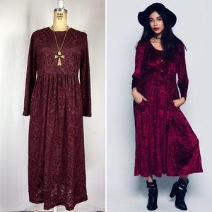 90's Sheer Flocked Velvet Floral Maxi Gothic Dress